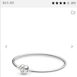 "Pandora Sterling Silver Bracelet with ""S"" Charm"